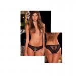 Crotchless Frills Panty w/Back Bows Black S/M