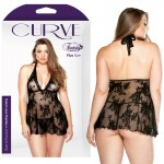 Curve Stretch Lace Chemise & Matching G-String Black 1X/2X
