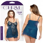 Curve Underwire Chemise & Matching Thong Teal 1X/2X