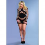 Diamond Net Long Sleeved Mini Dress w/Opaque Panel Accents Plus Size Black