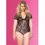 Floral Lace Backless Deep-V Cap Sleeve Teddy Plus Size Black