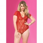 Floral Lace Backless Deep-V Cap Sleeve Teddy Plus Size Red