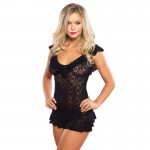 Floral Lace Flutter Ruffle Chemise O/S Black