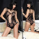 Floral Lace Teddy With Net Panel Accent And Shredded Strap Detail O/S Black