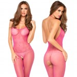 Halter Fishnet Bodystocking Hot Pink One Size