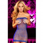 Hustler Fencenet Micro Mini Dress Blue
