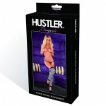 Hustler Leg Warmer White/Black Thigh High