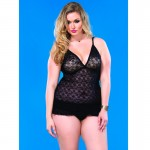 Lace Chemise w/Layered Ruffle Skirt Plus Size Black