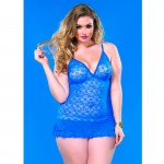 Lace Chemise w/Layered Ruffle Skirt Plus Size Royal Blue