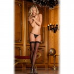 Lace Top Sheer Thigh Highs Black O/S