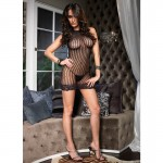 Lace Trimmed Crochet Net Halter Mini Dress O/S Black