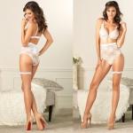 Lurex Lace Bra,Retro High Waist Panty,Garter Large White/Gold 3pc