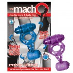 Macho Double Cock Ring With Clit Tickler (Purple)