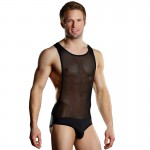 Male Power Sheer/Spandex Singlet Black L/XL
