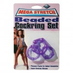 Mega Stretch Beaded Cock Ring Set Purple
