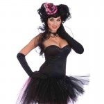 Mini Burlesque Hat-Pink/Black