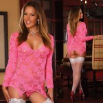 Neon Lace Merry Widow Dress & G-string Pink S/M