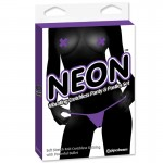 Neon Vibrating Crotchless Panty and Pasties Set Purple