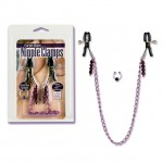 Nipple Clamps - Purple Chain with Navel Ring