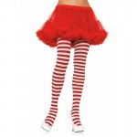 Nylon Stripe Tights O/S White/Red