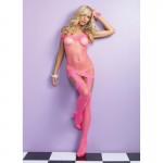 Off The Shoulder Fishnet Garter Dress w/Attached Stockings O/S Neon Pink