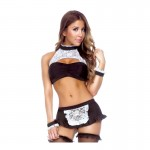 Play Maid To Order Costume; Halter Top, Skirt, Cuffs & G-String Black/White M/L