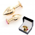 Rapture Gold Plated Stainless Steel Butt Plug w/Crystal (2)
