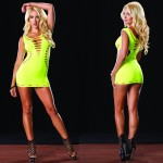 Reversible Seamless Cut Out Mini Dress O/S Neon Yellow