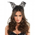 Scalloped Lace Bunny Ears O/S Black