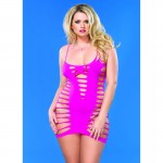 Seamless Cut Out Strappy Back Mini Dress Plus Size Neon Pink