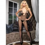 Seamless Fishnet Halter Bodystocking w/Deep Strap V Neck O/S Black