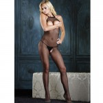 Seamless Fishnet Halter Bodystocking w/Open Bust & Crotch O/S Black