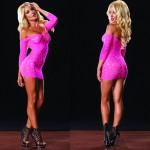Seamless Pothole Mini Dress w/3/4 Sleeve O/S Neon Pink