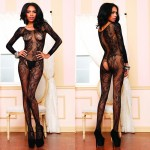 Seamless Swirl Lace Long Sleeve Bodystocking O/S Black