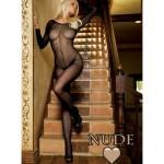 Sheer Long Sleeves Bodystocking O/S Nude