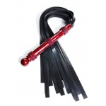 frontal view of the red hydra high strength silicone flogger