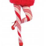 Spandex Sheer Candy Striped Pantyhose O/S Red/White