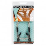Spartacus Adjustable Nipple Clams With Curbed Chain Rubber Tipped