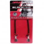 Spartacus Blackline Nipple Clamps With Leather Cord