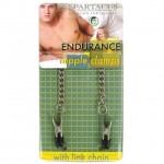 Spartacus Endurance Nipple Clamps With Curbed Chain Rubber Tipped