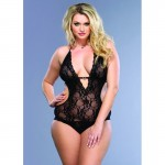 Stretch Lace Deep-V Halter Teddy With Faux Rhinestone Buckle Accent Plus Size Black