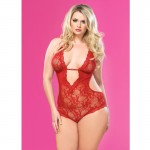Stretch Lace Deep-V Halter Teddy With Faux Rhinestone Buckle Accent Plus Size Red