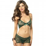 Stretch Lace Illusion Chemise With Diamond Back Cut Out O/S Green
