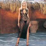 Swirl Lace Long Dress W/Lace Up Front W/G-String O/S Black