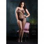 V Back F/N Bodystocking w/Lace Up O/S Black
