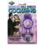 Vibrating Ball Banger Cock Ring Purple
