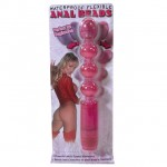 Waterproof Flexible Anal Beads Vibrating Pink