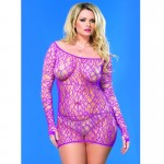 Web Net Long Sleeved Mini Dress Plus Size Purple