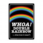 Whoa Double Rainbow Metal Sign
