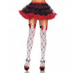 Woven Diamond Card Suit Thighs High With Bow And Card Charm O/S White/Red/Black
